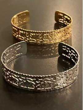 Bracelet Acier - Jonc ouvert martelé et perforé