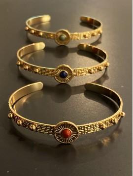 Bracelet Acier - Jonc ouvert fin boules + médaillon rond centre pierre