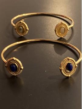 Bracelet Acier - Jonc ouvert bout médaillon centre pierre