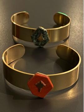 Bracelet Acier - Jonc ouvert hexagone en pierre avec étoile