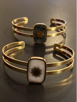 Bracelet Acier - Jonc médaillon rectangulaire en pierre avec étoile