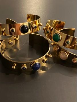 Bracelet Acier - Jonc ouvert 2 boules métal/pierre 1 grosse 2 petites
