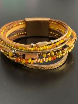 Bracelet aimant - 8 Rangs fins avec perle en poils