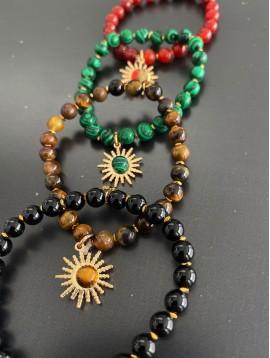 Bracelet éla - Perles avec soleil métal centre perle