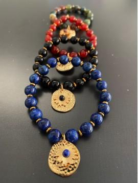 Bracelet éla - Perles avec pastille martelée et petit soleil métal