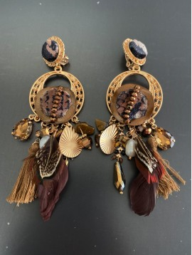 BO clips - Plumes/pompons/perles diverses/rond velours peau de bête