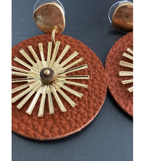 BO percées - Disque façon cuir avec soleil métal