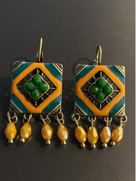 BO dormeuses - Carré style mosaiques avec perles facettes pendantes