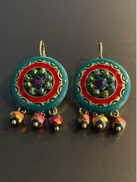 BO dormeuses - Cercle émail avec strass et perles pendantes