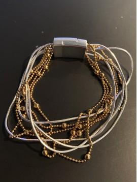 Bracelet aimant - Multirangs avec chaines boules et serpent