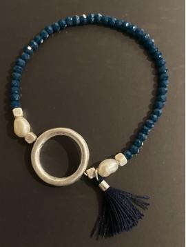Bracelet éla - Perles facettes avec gros anneau et pompon fils