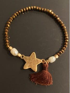 Bracelet éla - Perles facettes avec grosse étoile et pompon fils