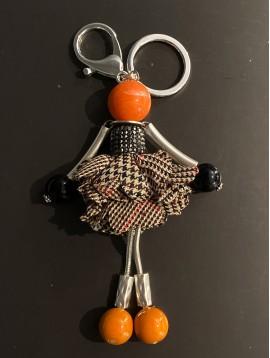 Porte clés - Poupée robe tweed et strass tête boule