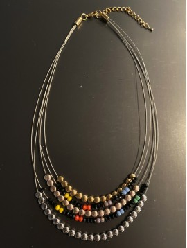 Collier - Multirangs avec perles facettes et rondes métal