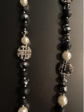 Collier Long - Perles lisses/facettes et grosses pastilles tweed