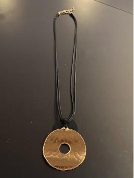 Collier Long - Gros anneau métal avec disque mat