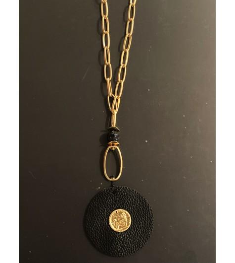 Collier Long - Disque façon cuir avec pierres lave/anneaux métal