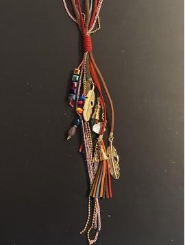 Collier Long - Multirangs gros pompon pampilles plumes/perles/nacre