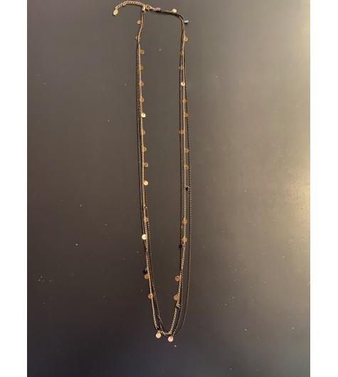 Collier Long - 2 Rangs mini perles/pastilles miroir