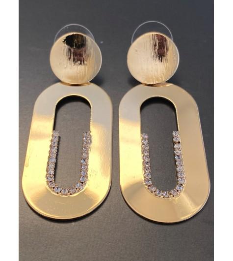 BO percées - Gros ovales métal avec strass