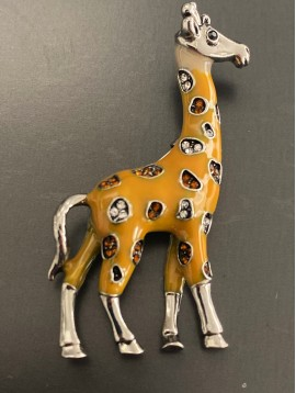 Broche - Girafe émail avec taches strass