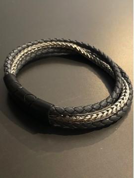 Bracelet Acier Aimant - 2 Tresses cuir et 1 rang métal