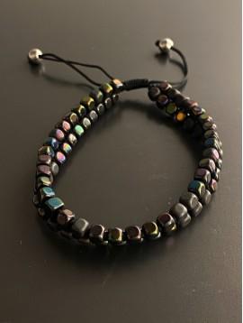 Bracelet Acier - 2 Rangs perles accolées sur cordon et lien serrage