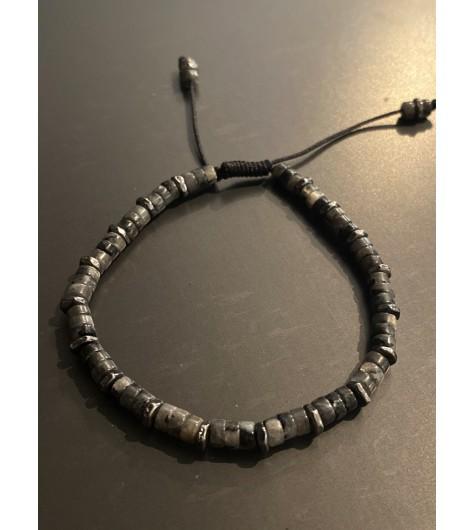 Bracelet Acier - Petites perles pierre/métal sur cordon et lien serrag