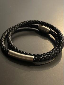 Bracelet Acier Aimant - Tresse cuir double tour avec perle longue méta