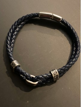 Bracelet Acier - Tresse cuir avec 3 perles métal croco