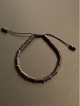 Bracelet Acier - Rondelles pierre/métal sur cordon et lien serrage