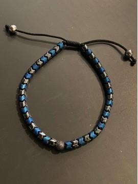 Bracelet Acier - Perles Z et boule picot sur cordon et lien serrage