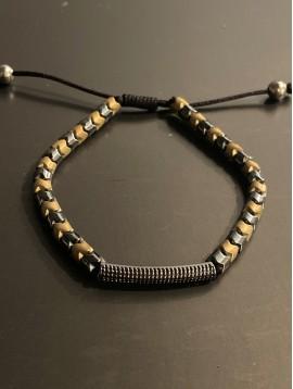 Bracelet Acier - Perles V et barrette métal sur cordon et lien serrage