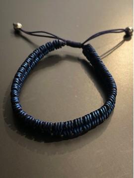 Bracelet Acier - 2 Rangs rondelles diformes sur cordon et lien serrage