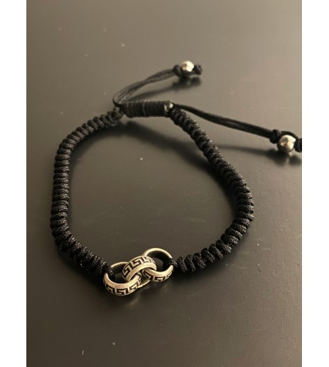Bracelet Acier - 3 Perles avec méandres sur cordon et lien serrage