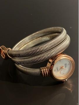 Montre - Bracelet spirale bout anneau avec mini cadran rond