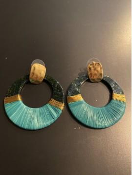 BO percées - Anneau résine avec fil métal et tissu