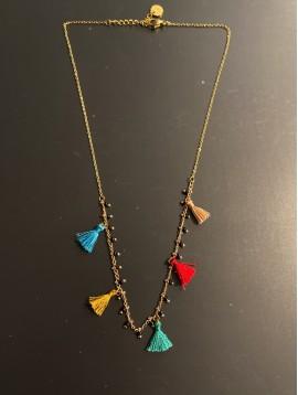 Collier Acier - Mini perles et mini pompons fils sur chaine fine