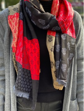 Echarpe patchwork avec franges