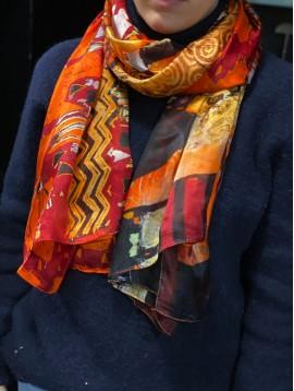 """Echarpe soie impr """"Le baiser"""" Gustav Klimt"""