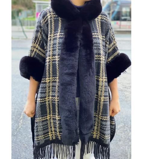 Manteau pieds de poule à capuche bas franges bord col/manches fourrure