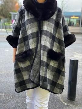 Manteau à carreaux avec bord col/poches/manches en fourrure synthétiqu
