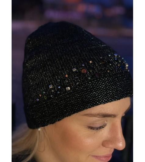 Bonnet tricot brillant avec sequins et strass