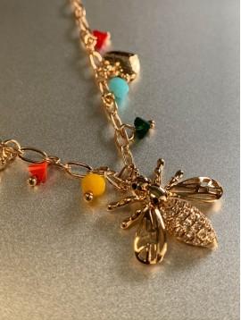 Collier Acier - Abeille, coeur, coccinelle avec perles sur chaine plat