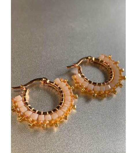 BO créoles Acier - Moyenne avec perles facettes