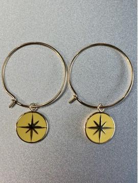BO créoles Acier - Moyenne avec pastille émail avec étoile dessus