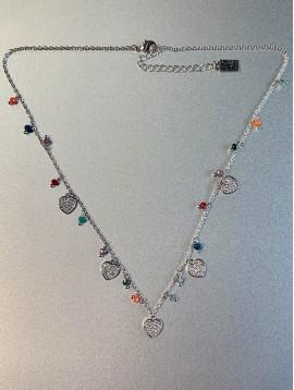 Collier Acier - Coeurs en strass avec perles facettes sur chaine fine