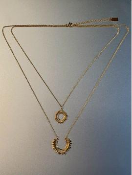 Collier Acier Long - 2 Rangs pendentif soleil et 1/2 soleil en métal