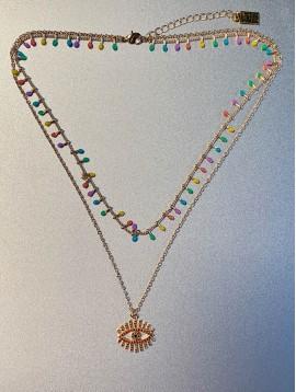Collier Acier - 2 Rangs perles et chaine avec oeil strass