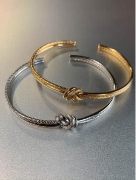 Bracelet Acier - Jonc ouvert avec noeud dessus